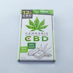 Euphoria - Cannabis Chocolate + CBD 12mg - 80g