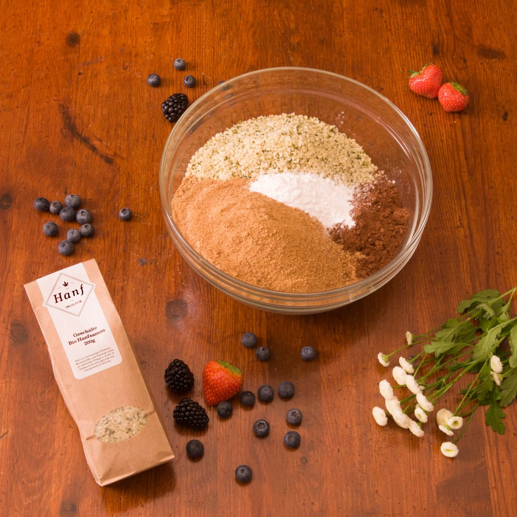 Hanfkuchen Schoko Vegan Teig Zutaten