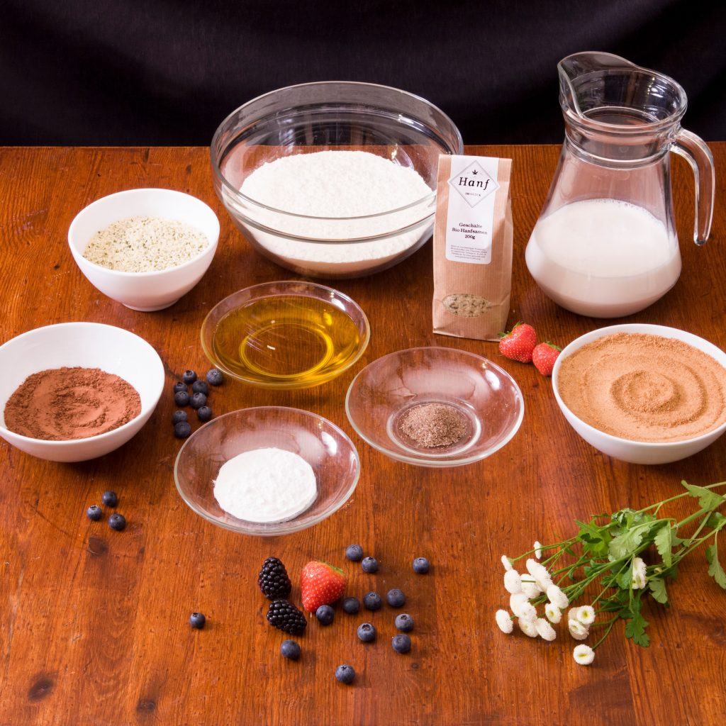 Hanfkuchen Schoko Vegan Zutaten